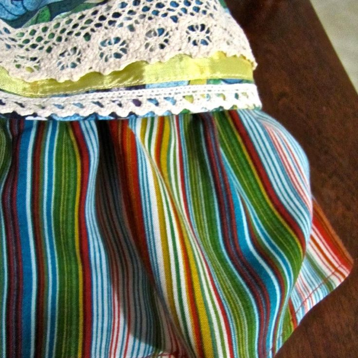 Dress detail. Vintage trim and ribbon. Made from a recycled sundress.