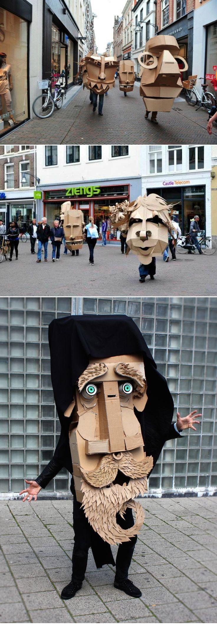 Ideas originales para hacer en casa. Disfraces de caras gigantes para Carnaval.