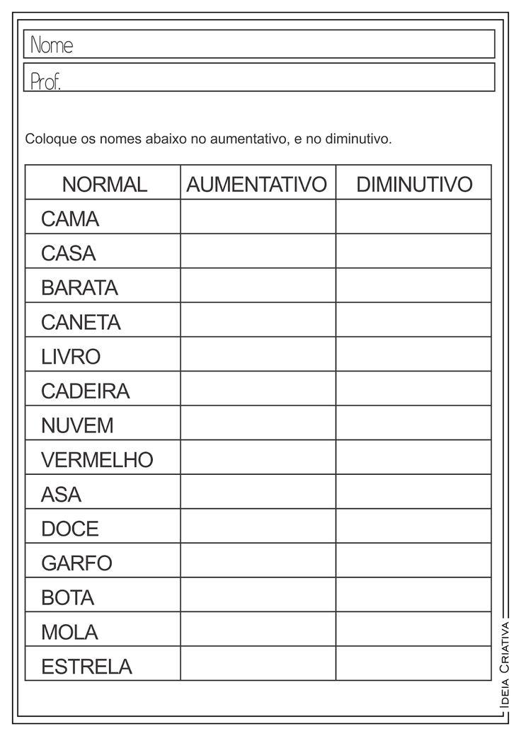 Atividades Educativas de Língua Portuguesa Diminutivo e Aumentativo para Ensino Fundamental