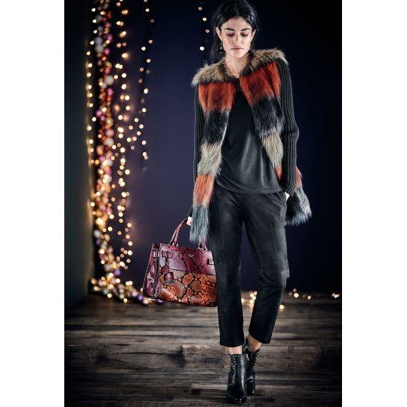 Fake-Fur-Mantel, schwarz/rot/creme, Rippenstrickärmel, leicht ausgestellt, Kunstfell
