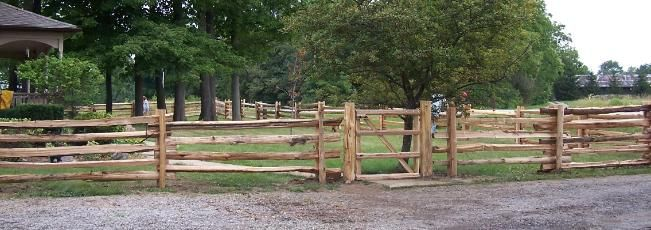 Northern White Cedar split rail fence with gate straight style