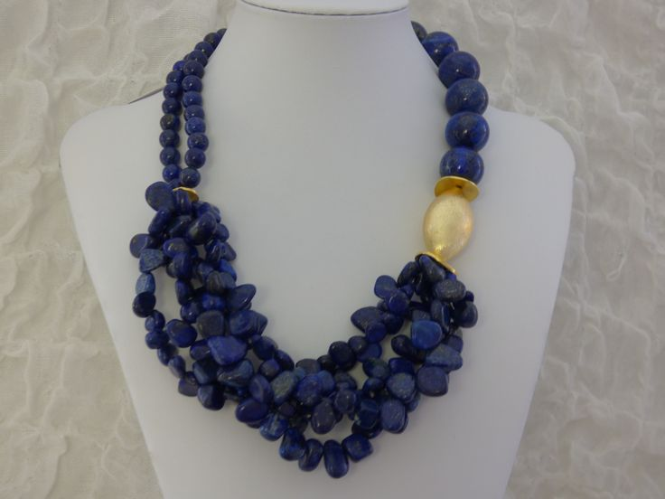 NECKLACE WITH LAPIS LAZULI HANDMADE BY EVI TZAFETTA