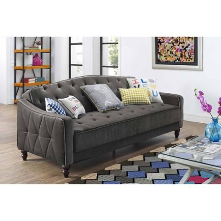 9 by Novogratz Vintage Tufted Sofa Sleeper II, Cheap for upstairs loft. Comes in blue too.
