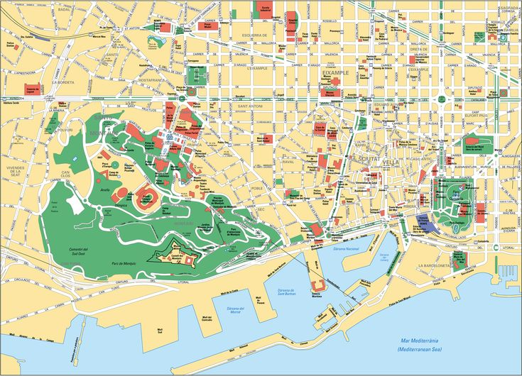 Tourist map of Barcelona attractions, sightseeing, museums, sites, sights, monuments and landmarks