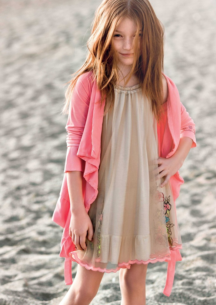 TWIN-SET Girl Collection: Tulle dress floral embroidery and asymmetric cardigan