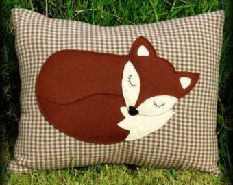 Snoozy fox.  A snoozy fox cushion, complete with inner pad.  Fox pillow.  48cm x 38cm.