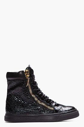 Giuseppe Zanotti Black Croc Embossed Leather High Top Sneakers for men | SSENSE