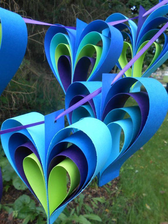 PEACOCK-Herz-Girlanden. 10 Herzen. Dusche von TreeTownPaper auf Etsy