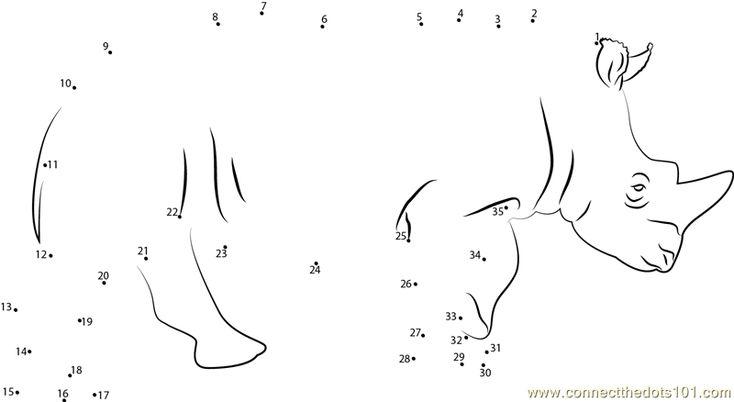 Rhino Dot To Dot Printable Worksheet