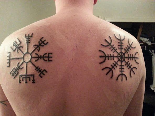 Helm of awe and vegvisir Nordic rune tattoos