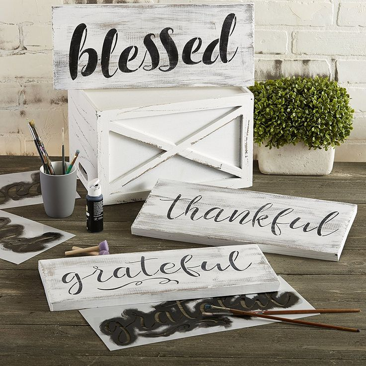 Grateful Thankful Blessed Stencil Set Signs Diy Home