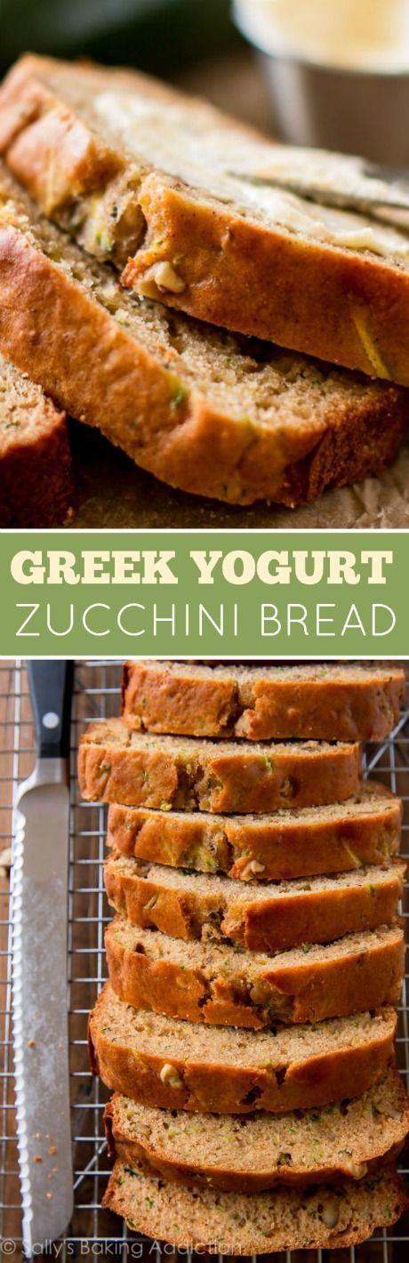 Super simple, easy, healthy, and moist Greek yogurt zucchini bread! Recipe on sallysbakingaddic...