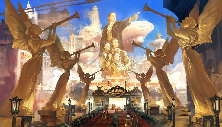 """Concept art by Ben Lo of a gateway in the floating city of Columbia, from Irrational Games' 2013 PC hit """"Bioshock Infinite"""""""