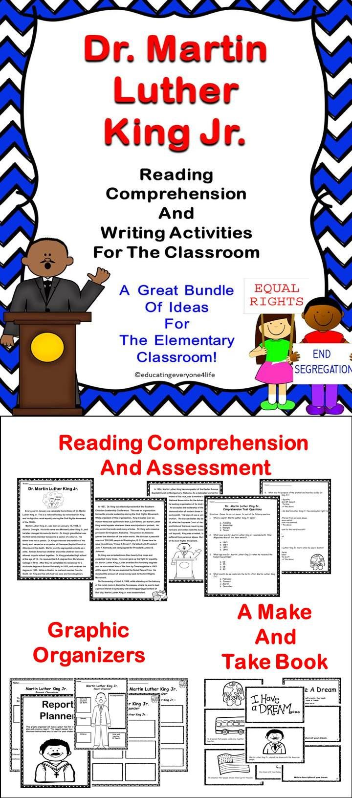 Martin Luther King Jr. Activity Pack - This is a great bundle of Martin Luther King Jr. activities- This pack includes literacy and writing activities. #tpt #history