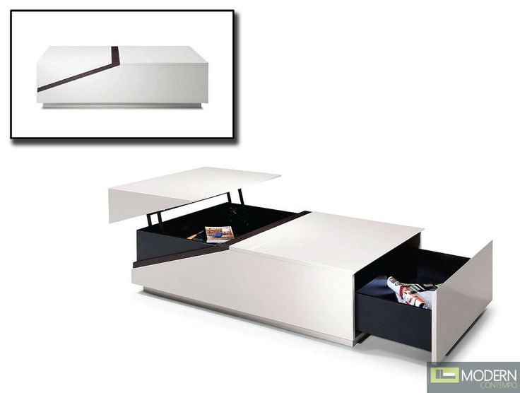 Modern White Coffee Table With Hidden Storage And Built In Drawer Versatility At Its