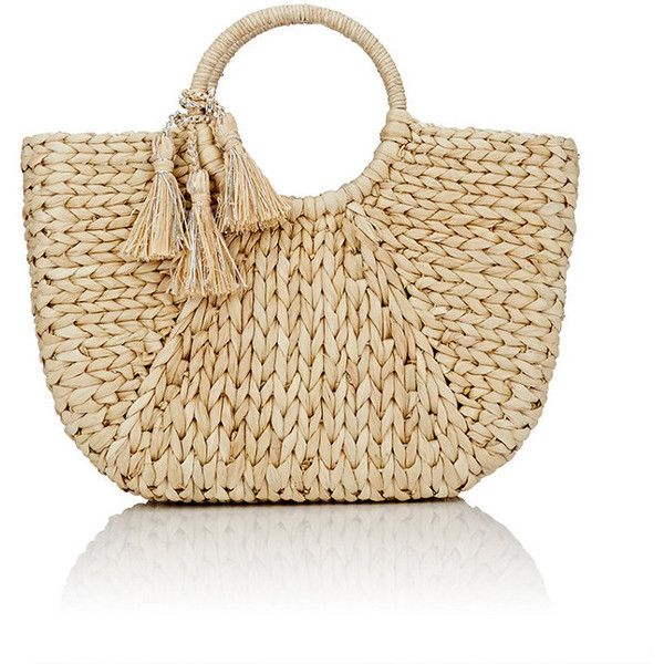 Buji Baja Women's Woven Tote ($99) ❤ liked on Polyvore featuring bags, handbags, tote bags, nude, brown tote bags, tote purses, brown tote purse, straw tote bags and nude purses