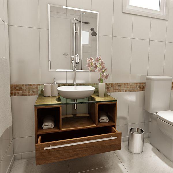 Kit Gabinete De Banheiro Cetus 43x70x35cm Nogal Vtec Com Imagens