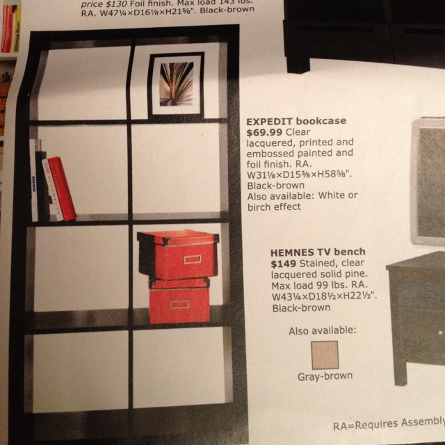 I like this dark bookshelf with white backs. Maybe with underneath lighting too?Dark Bookshelf, Underneath Lights