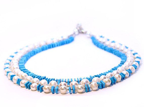 Blue White Bead Necklace Beaded Necklace 3 by Femalehappiness