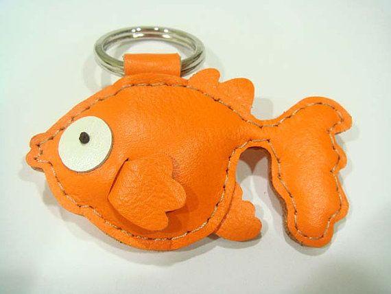 Lovely Goldfish Leather Keychain Orange by leatherprince on Etsy, $20.90
