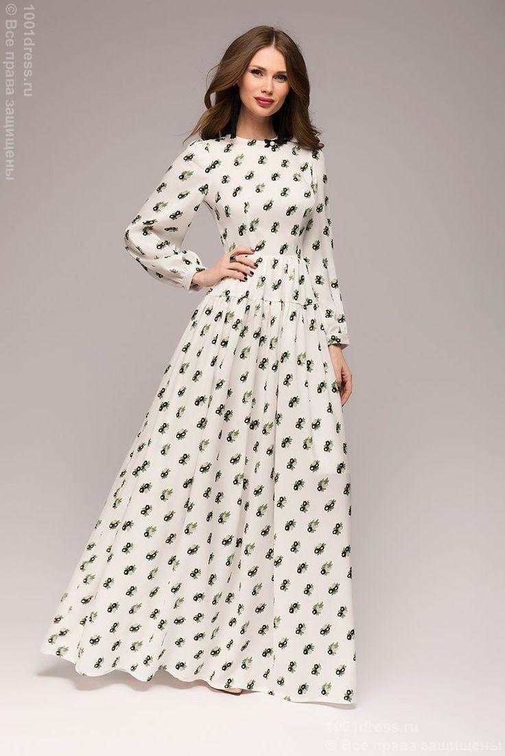 Купить белое платье длины макси с принтом и длинными рукавами в интернет-магазине 1001 DRESS