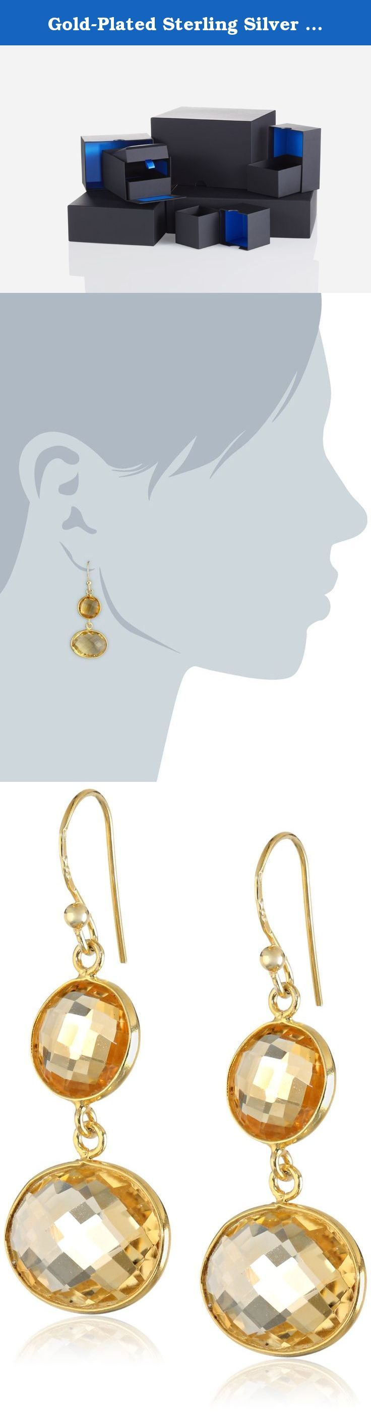 Gold-Plated Sterling Silver Citrine Round and Oval Bezel Drop Earrings. The natural properties and composition of mined gemstones define the unique beauty of each piece. The image may show slight differences to the actual stone in color and texture.