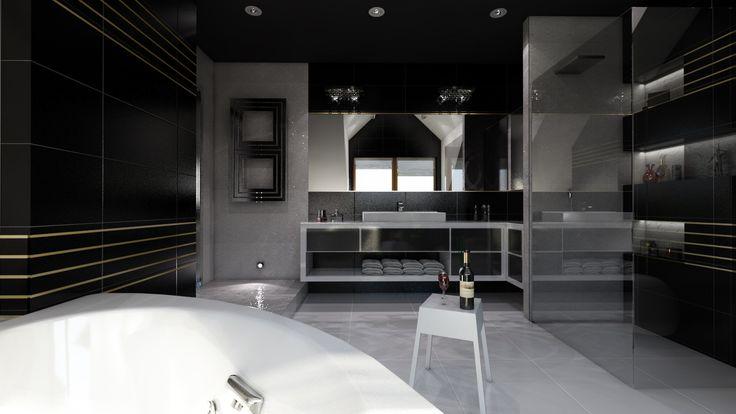 wizualizacja łazienki w stylu glamour