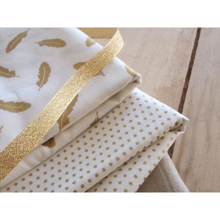Tissu coton Tout ce qui brille Frou-Frou - Scintillant Pois Crème/ - Perles & Co