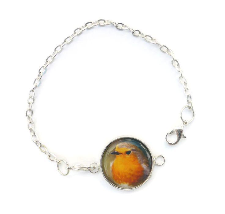 Robin Bird Bracelet, Handmade Jewelry, Christmas Gift, Silver Bird Bracelet, Bird Jewelry, Christmas Bracelet, Silver Bird Charm, Larryware by Larryware on Etsy