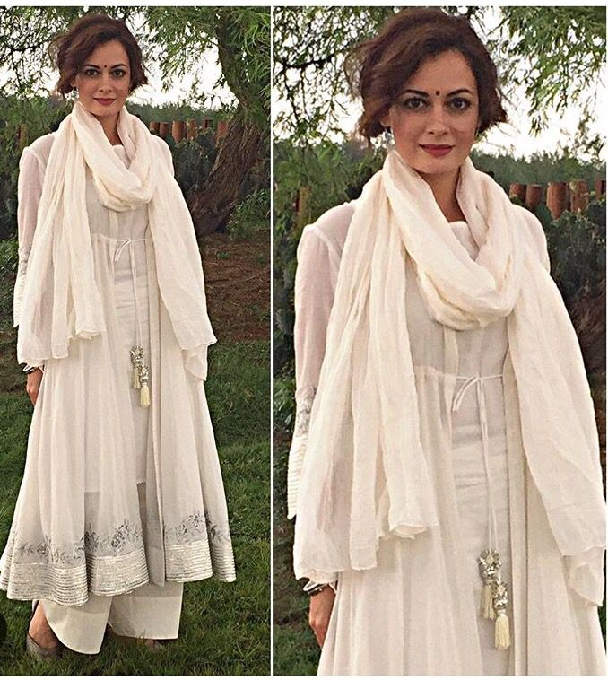 Sukriti and Akriti # dia Mirza # Pallazo love # white love # fashion