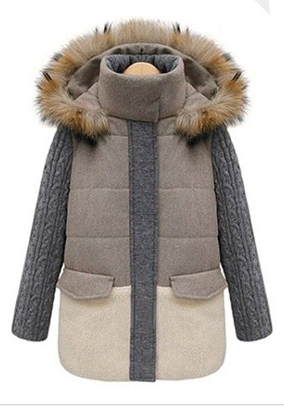 ++ light khaki patchwork thick cotton blend padded coat