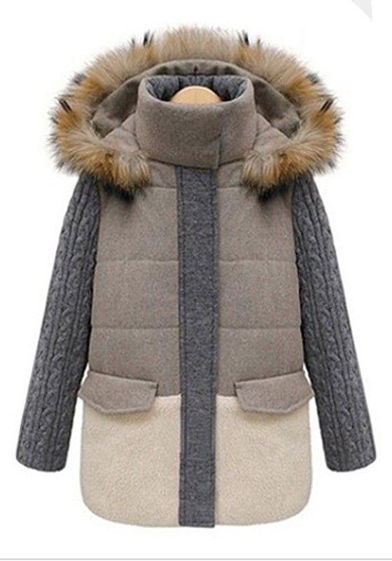 ++ light khaki patchwork thick cotton blend padded coat