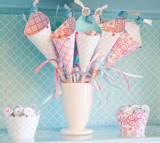 love the shooting stars: Treats, Paper Cones, Birthday Parties, Birthday Wish, Sticks, Parties Favors, Parties Ideas, Princesses Parties, Girls Parties