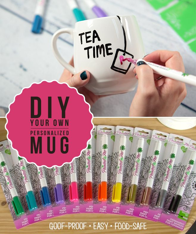 Get creative with PaintedbyMe markers and mugs.  Simply draw your design with the marker, then bake for a food and dishwasher-safe mug.  There's so many cool colors and mug designs to choose from so the possibilities are endless.