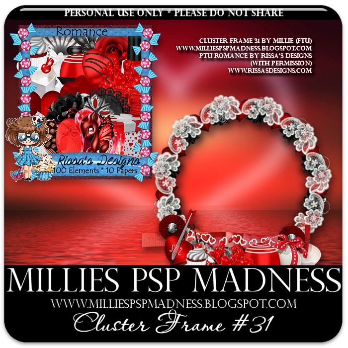 Millie's PSP Madness: FTU Cluster Frame 31 and tag featuring Nocturne and Rissa's Designs