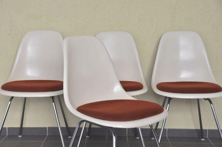 4x Vitra Herman Miller Eames side chair Fiberglas Stuhl fibreglass h-base