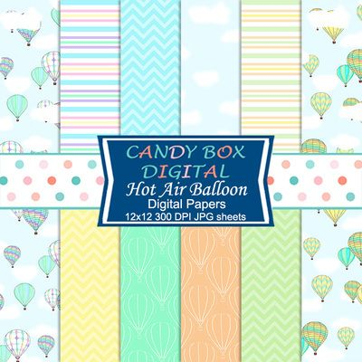 Hot Air Balloon Digital Papers by Candy Box Digital. Blue skies with hot air balloons, stylized balloons in mint and coral. Beautiful spring or summer papers for scrapbooks, journals, blog backgrounds and web pages.