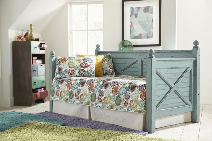 Woodhaven Antique Blue Wooden Daybed | Brian's Furniture