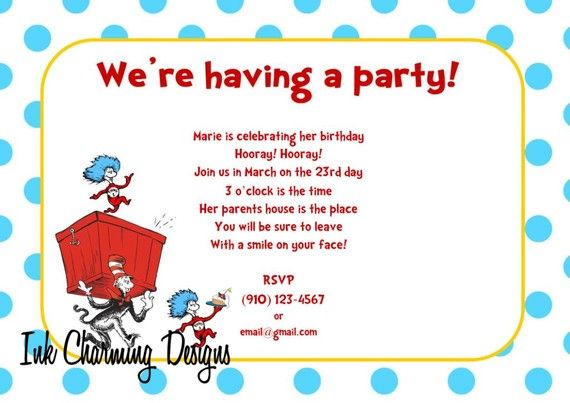 dr. seuss birthday: throw a dr. seuss birthday party! | dr seuss, Party invitations