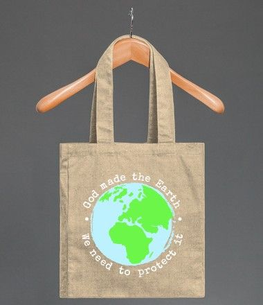 """Love this tote bag - perfect for #earthday """"God Made The Earth - We Need to Protect It"""" also available in t-shirts, hoodies and more! #protecttheenvironment #environmentallyfriendly #cleanliving"""