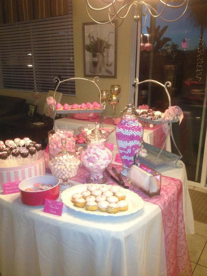 "Our next-door neighbors invited us to a ""pink party"" in celebration of the wife being breast cancer-free for five years. I couldn't resist taking a picture of this luscious dessert table."