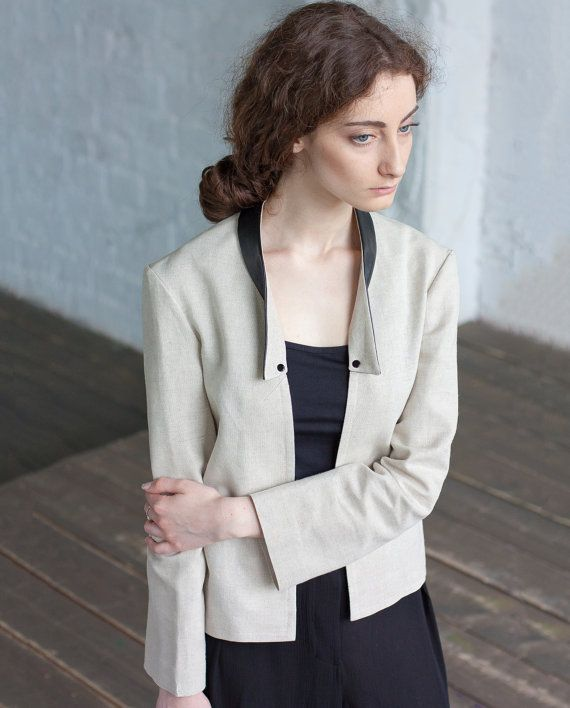 Linen Jacket with leather collar / boho jacket by ExlibrisClothing