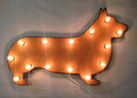 WELSH CORGI Lighted Marquee Sign made of Rusted Recycled Metal Vintage Inspired