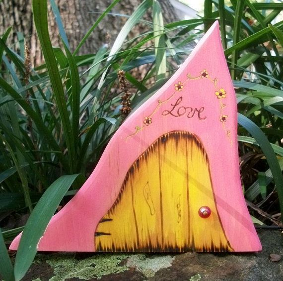 Wooden Fairy Door Pink and Yellow with LOVE by LovingLeeCrafted, $11.00