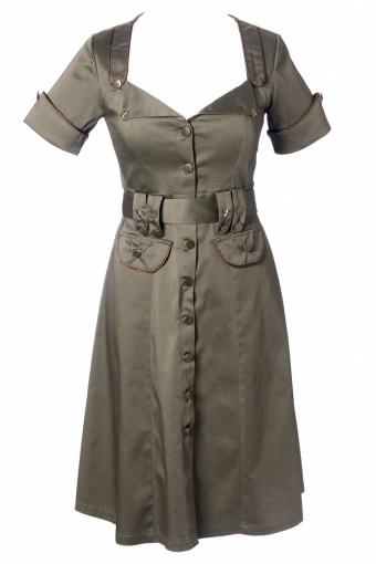 Military Khaki A line dress from topvintage.nl