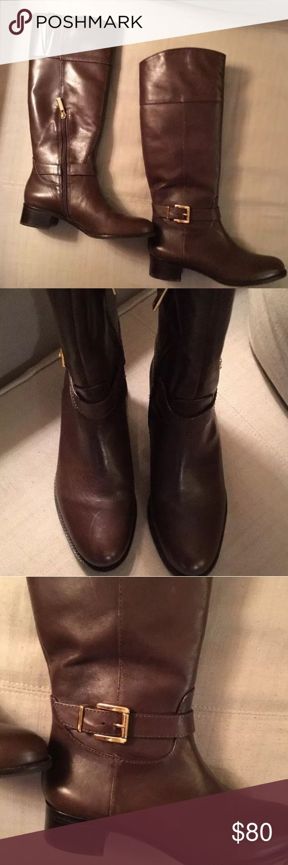 Banana Republic women's tall riding boot Like new (worn only once), BR riding boot in rich brown, with gold accent buckle on the outside and inside half-zip. Hits just below the knee. Super stylish for work with a pencil skirt or trouser, or casually with jeans or leggings.  Pet-free, smoke-free, kid-free, environment Banana Republic Shoes