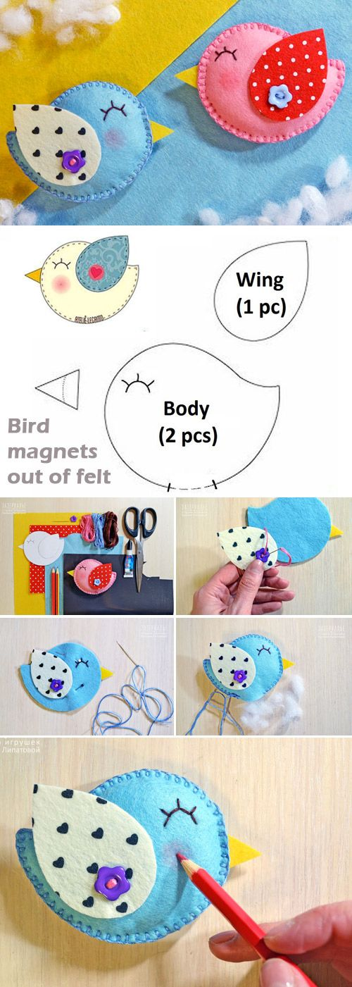 How to Make spring bird magnets out of felt. Tutorial http://www.handmadiya.com/2017/04/how-to-make-spring-birds-of-felt.html