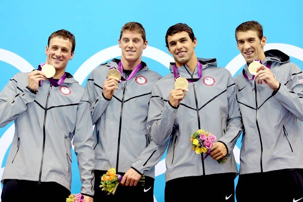Ryan Lochte, Conor Dwyer, Ricky Berens and Michael Phelps of the Men's 4 x 200m Freestyle Relay final.