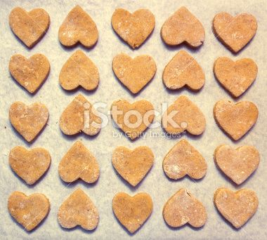 Heart shaped cookies on baking paper