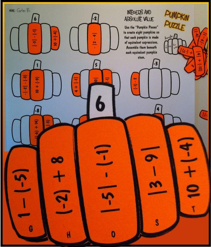pumpkin puzzle integers absolute value math and algebra. Black Bedroom Furniture Sets. Home Design Ideas